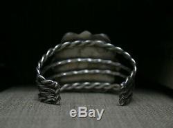 Vintage Native American Navajo Turquoise Sterling Silver Cluster Cuff Bracelet