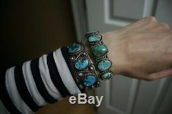Vintage Native American Navajo Turquoise Sterling Silver Cuff Bracelet