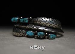 Vintage Native American Navajo Turquoise Sterling Silver Leaf Cuff Bracelet