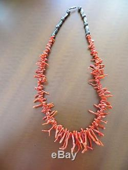 Vintage Native American Navajo sterling Red color branch Coral necklace