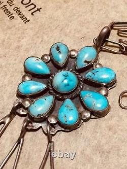 Vintage Native American Necklace Turquoise Jewelry Pendant Men Silver Women Rare