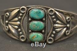 Vintage Native American Old Pawn Sterling Silver 3 Turquoise Cuff Bracelet
