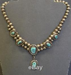 Vintage Native American Old Pawn Sterling Silver 6 Turquoise Stones Necklace