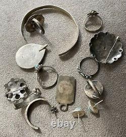 Vintage Native American Silver Jewelry LOT Turquoise Rings Earrings Bracelet +
