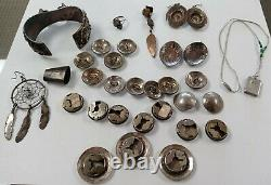 Vintage Native American Southwestern Sterling Silver Mixed Jewelry Lot 30 Items