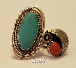 Vintage Native American Sterling Silver Coral and Turquoise Jewelry Lot