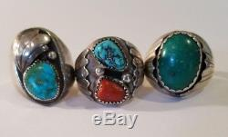 Vintage Native American Sterling Silver Mens Ring Lot Turquoise and Coral