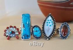 Vintage Native American Sterling Silver Ring Lot