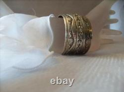 Vintage Native American Sterling Silver Watch Cuff Signed 41.5 grams