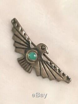 Vintage Native American Sterling Thunderbird Pin Brooch Indian Turquoise Navajo