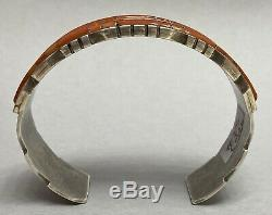 Vintage Native American ZUNI Sterling Silver Red Coral Inlay Cuff Bracelet NICE