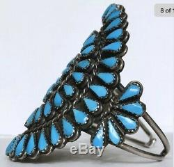 Vintage Native American ZUNI Sterling Silver Turquoise Cluster Cuff Bracelet