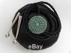 Vintage Native American Zuni Petit Point Sterling Silver Turquoise Bolo Tie Nvh