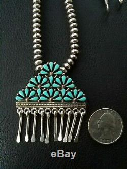 Vintage Native American Zuni Sterling Turquoise Petit Point Cluster Pin Pendant
