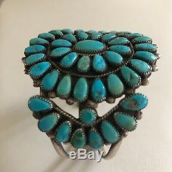 Vintage Native American Zuni Turquoise Cluster Cuff Bracelet Old Pawn 54 Stones