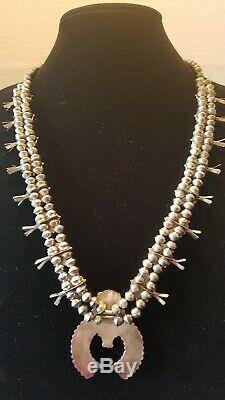 Vintage Native American Zuni Turquoise Silver Squash Blossom Necklace 104.7G