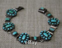 Vintage Native American Zuni Turquoise Sterling Silver Cluster Link Bracelet