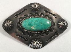 Vintage Native Indian Sterling Silver Turquoise Repousse Stampwork Pin Brooch