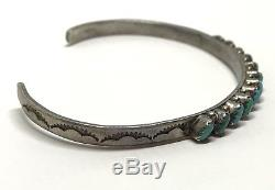 Vintage Native Old Pawn Sterling Slanted Turquoise Petit Point Cuff Bracelet