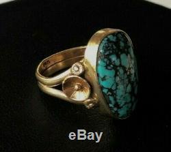 Vintage Navajo 14k Lone Mountain Turquoise Ring 5.6g Hallmarked
