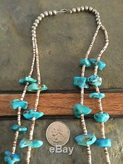 Vintage Navajo 2 Strand Turquoise And Heishi Bead Necklace