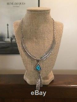Vintage Navajo AL YAZZ Sterling Silver Large Feather Turquoise Necklace 925