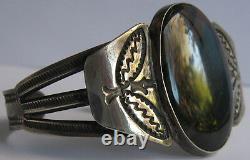 Vintage Navajo American Indian Silver Petrified Wood Ochre Agate Cuff Bracelet