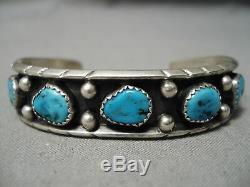 Vintage Navajo Blue Turquoise Sterling Silver Bracelet Native American Old