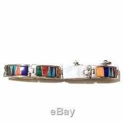 Vintage Navajo CALVIN BEGAY Multi-stone Inlay Sterling Silver Link Bracelet 7