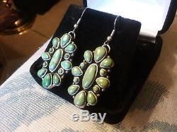 Vintage Navajo Carico Lake Turquoise Sterling Silver Earrings