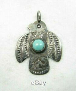 Vintage Navajo Fred Harvey Era Turquoise Stamped Thunderbird Sterling Pendant