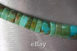 Vintage Navajo Green Turquoise Heishi Bead Necklace 33,5 gr