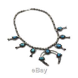 Vintage Navajo Handmade 925 Sterling Turquoise Squash Blossom Necklace AJB
