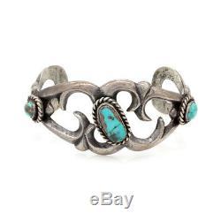 Vintage Navajo Handmade Sand Cast Solid Sterling Turquoise Cuff Bracelet AJB