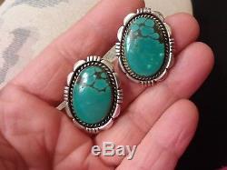 Vintage Navajo Hubei Turquoise Sterling Silver Earrings