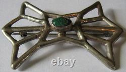 Vintage Navajo Indian Cast Silver Green Cerrillos Turquoise Pin Brooch