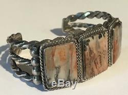 Vintage Navajo Indian Heavy Silver Gorgeous Petrified Wood Cuff Bracelet