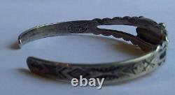 Vintage Navajo Indian Maisels Sterling Green Turquoise Small Wrist Cuff Bracelet