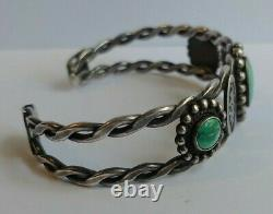 Vintage Navajo Indian Pounded Twisted Wire Silver Turquoise Cuff Bracelet