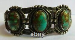 Vintage Navajo Indian Silver And Turquoise Cuff Bracelet