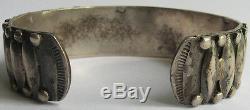 Vintage Navajo Indian Silver Applied Design Cuff Bracelet