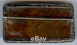 Vintage Navajo Indian Silver Colorful Petrified Wood Pin Brooch