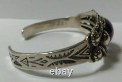 Vintage Navajo Indian Silver Dragons Breath Cuff Bracelet