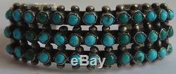 Vintage Navajo Indian Silver Green Blue Snake Eye Turquoise Three Row Bracelet