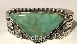 Vintage Navajo Indian Silver Green Triangle Turquoise Cuff Bracelet