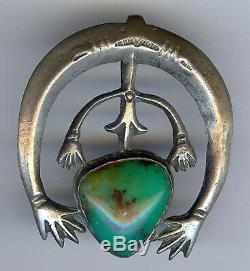 Vintage Navajo Indian Silver & Green Turquoise Double Hands Naja Pendant