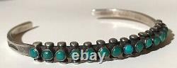 Vintage Navajo Indian Silver Green Turquoise Snake Eye Row Cuff Bracelet