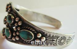 Vintage Navajo Indian Silver Multi Stone Turquoise Cuff Bracelet