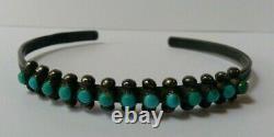 Vintage Navajo Indian Silver Multi Turquoise Snake Eye Row Cuff Bracelet