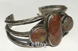 Vintage Navajo Indian Silver Petrified Wood Agate Cuff Bracelet